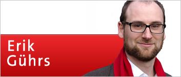 Banner: Erik Gührs, Ihr Kandidat für den Deutschen Bundestag und Vorsitzender der SPD-Fraktion in Lichtenberg