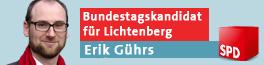 Banner: Erik Gührs, Direktkandidat für den Bundestag
